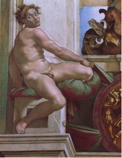 Fig. 11) Michelangelo, Ignudo, 1534-4.