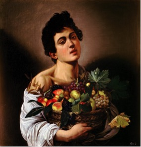 Fig. 8) Caravaggio, Boy with a Basket of Fruit, 1593.