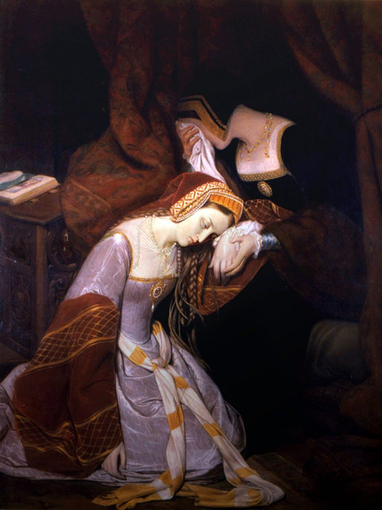 Painting title: Anne Boleyn in the Tower by Edouard Cibot (1799–1877) [Public Domain]