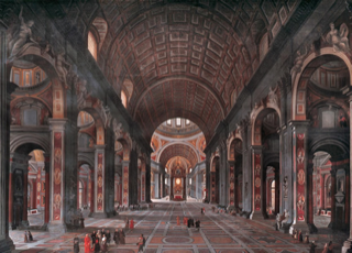 """17 x 23.5 foot painting by George Cooke of the interior of Saint Peter's in Rome."" -- http://tate.uga.edu/weddings/chapel-history"
