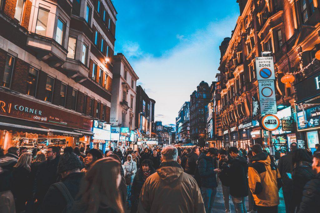 decorative image: crowd, city life
