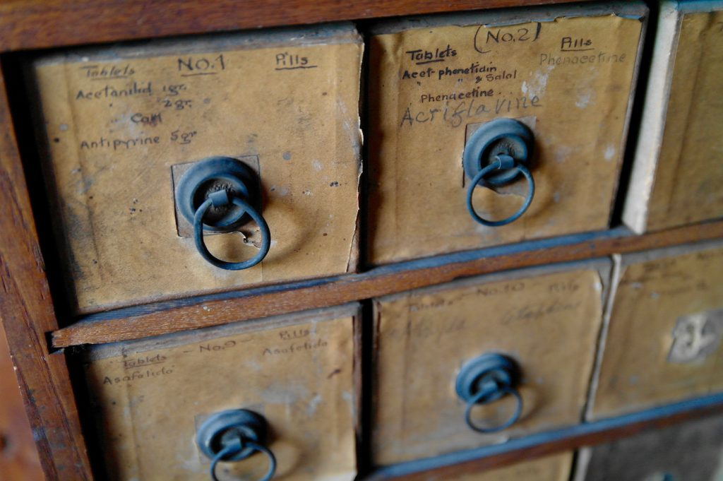 decorative image: apothecary drawers