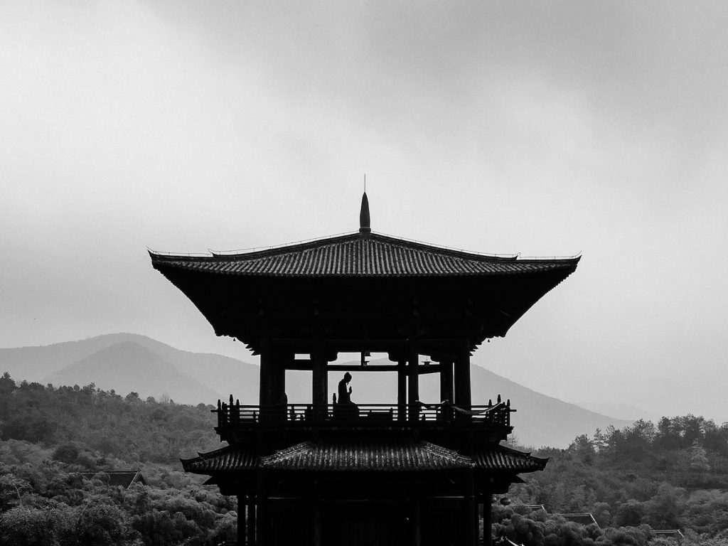 decorative image: grayscale photography of person on pagoda